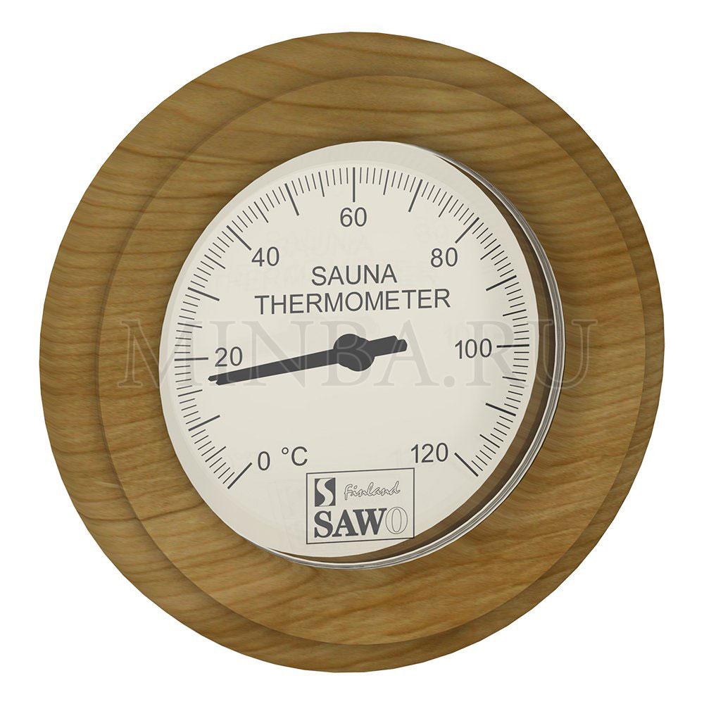 Термометр в сауну круглый Sawo кедр