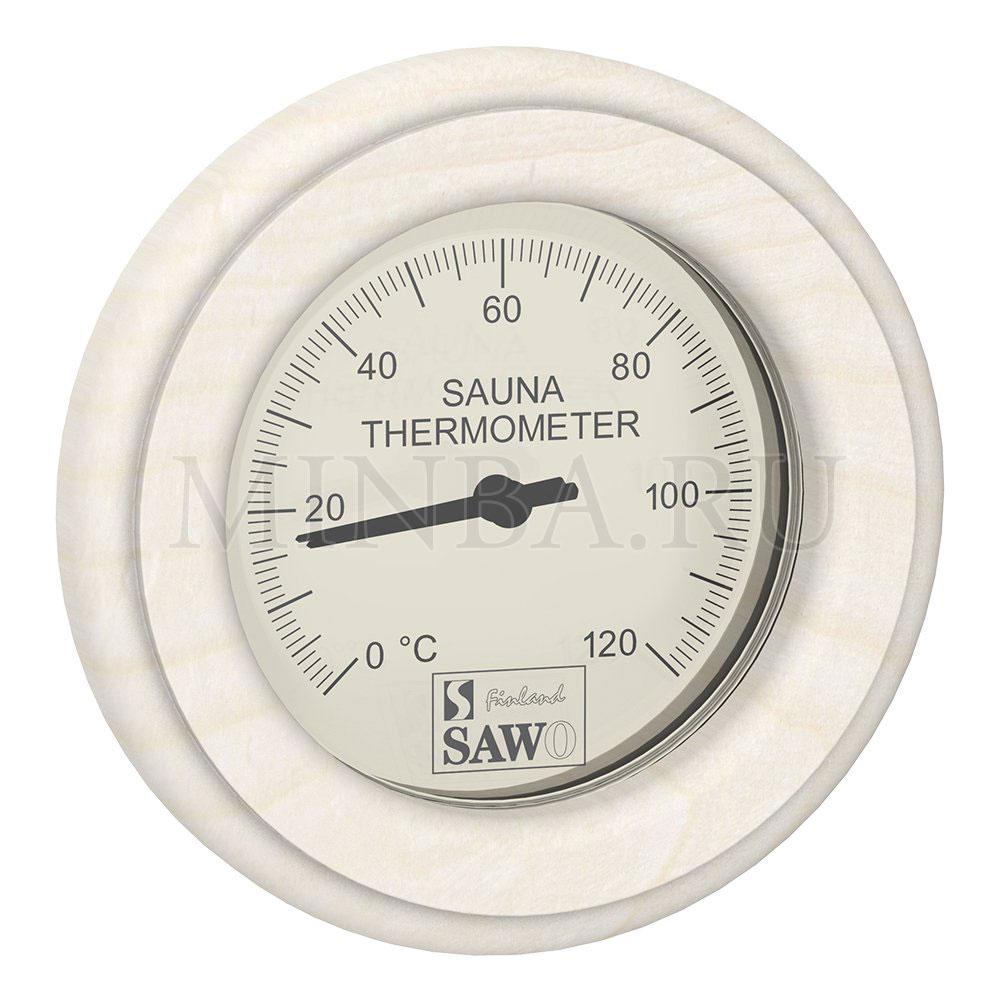 Термометр для сауны круглый Sawo осина